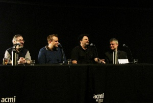 Warren Spector, Rob Murray, Tim Shafer and Head of Exhibitions Conrad Bodman