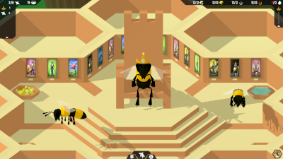 A screenshot of a Throne Room full of past Queens' portraits.