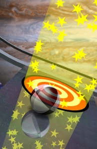 A screenshot of one of Neverball's space themed levels.