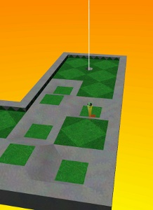 A screenshot of Neverputt, a mini-golf game based on the Neverball engine.