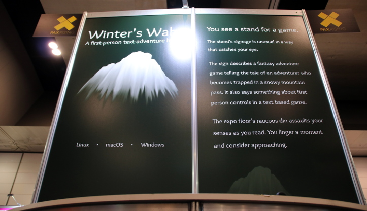 A low shot of the Winter's Wake stand sign.