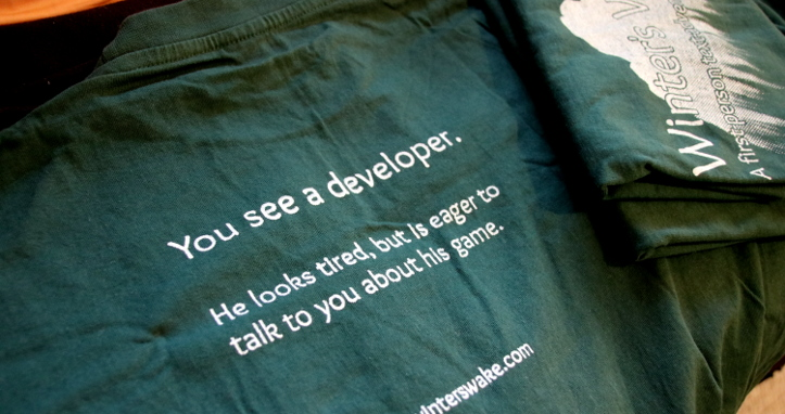The front and back of my developer t-shirt.