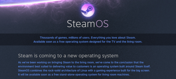 The original SteamOS announcement page, which has now been removed from Steam.