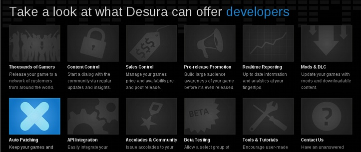 Some of the features Desura offers for developers.