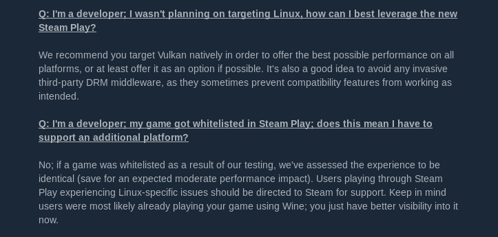 Two of the FAQ entries in the announcement of the Steam Play/Proton beta.